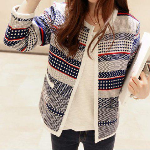 Store Sweet Style Round Neck Long Sleeve Printed Pocket Design Women's Cardigan