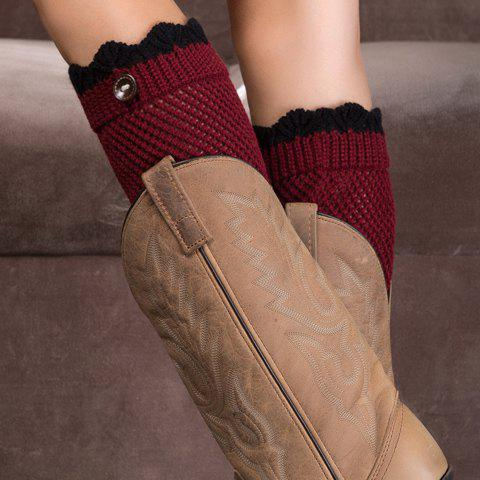 Buy Pair of Chic Wavy Edge and Button Embellished Knitted Boot Cuffs For Women RED/BLACK