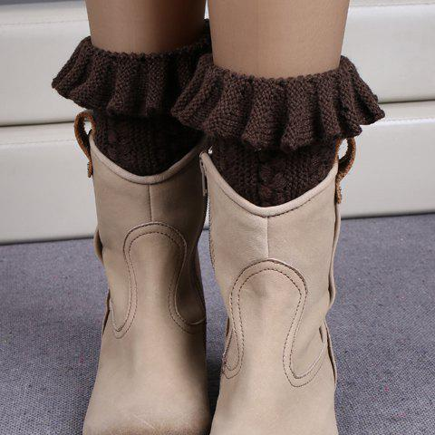Buy Pair of Chic Flouncing Hollow Out Weaving Knitted Leg Warmers For Women COFFEE