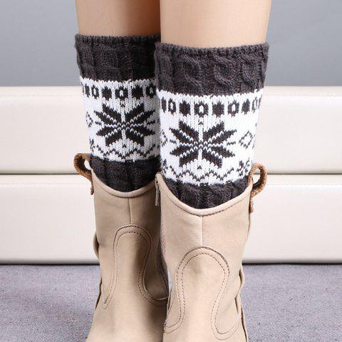 Latest Pair of Chic Christmas Snowflake Pattern Knitted Boot Cuffs For Women