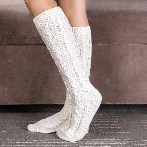 Latest Pair of Chic Solid Color Hemp Flowers Patterned Knitted Stockings For Women WHITE