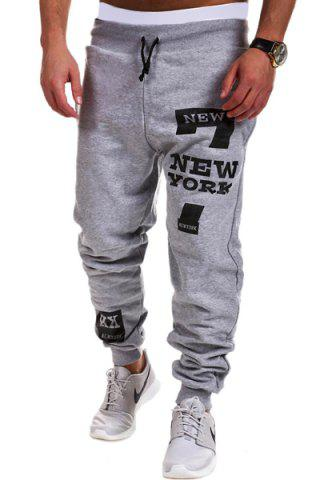 Hot Lace-Up Letters and Number Print Beam Feet Men's Pants