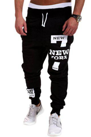 Fashion Lace-Up Letters and Number Print Beam Feet Men's Pants BLACK 3XL