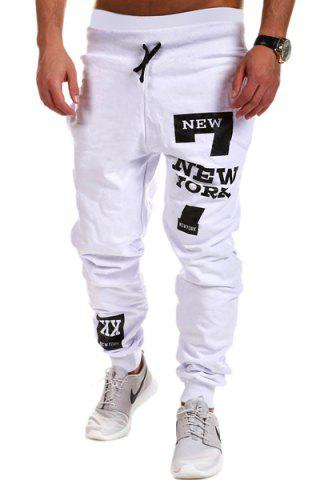 Lace-Up Letters and Number Print Beam Feet Men's Pants - WHITE M