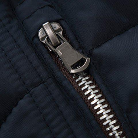 Unique Slimming Splicing Stand Collar Thicken Long Sleeve Zipper Cotton-Padded Coat For Men - M SAPPHIRE BLUE Mobile