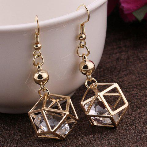 Store Pair of Vintage Rhinestone Polygon Hollow Out Earrings For Women GOLDEN