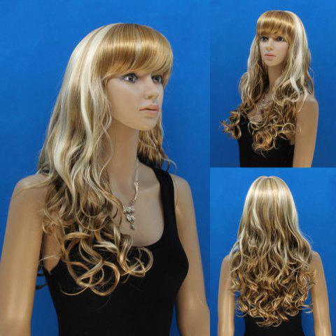 Unique Attractive Full Bang Synthetic Shaggy Curly Capless Stylish Blonde Mixed Flax Long Wig For Women