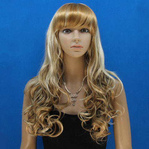 Best Attractive Full Bang Synthetic Shaggy Curly Capless Stylish Blonde Mixed Flax Long Wig For Women - COLORMIX  Mobile