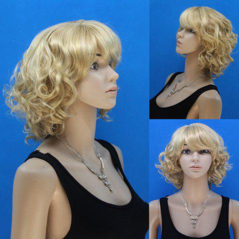Trendy Noble Blonde Mixed Flax Synthetic Stylish Short Side Bang Fluffy Curly Capless Wig For Women