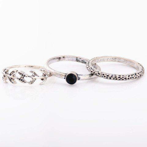 A Suit of Chic Rhinestone Leaf Pitted Surface Rings For Women - SILVER GRAY ONE-SIZE
