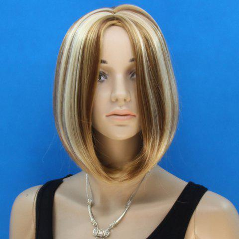 Outfits Sweet Short Bob Style Synthetic Fashion Straight Flax Brown Mixed Middle Part Wig For Women COLORMIX