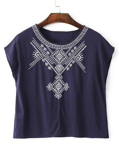 Fancy Brief Scoop Neck Embroidery Short Sleeve T-Shirt For Women