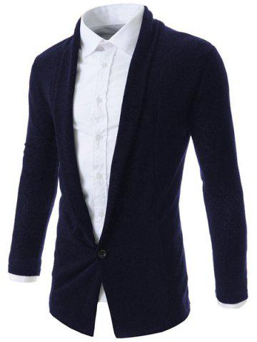Unique Turn-Down Collar One Button Design Long Sleeve Men's Cardigan