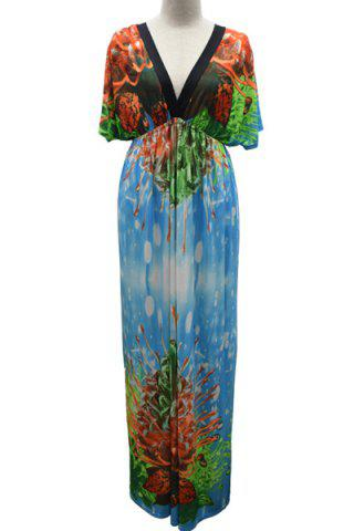 Outfit Graceful V-Neck Short Sleeve Prined Plus Size Women's Maxi Dress