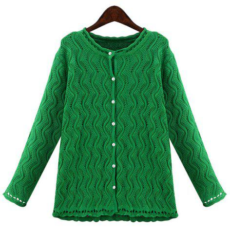 New Stylish Jewel Neck Long Sleeve Solid Color Wave Cardigan For Women GREEN 3XL