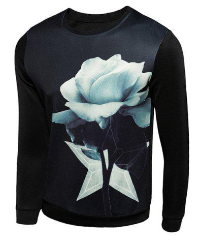 Outfit Hot Sale Round Neck 3D Flower Print Long Sleeves Men's Slimming Sweatshirt