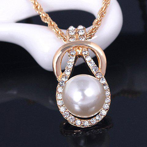 Best A Suit of Graceful Faux Pearl Zircon Necklace and Earrings For Women