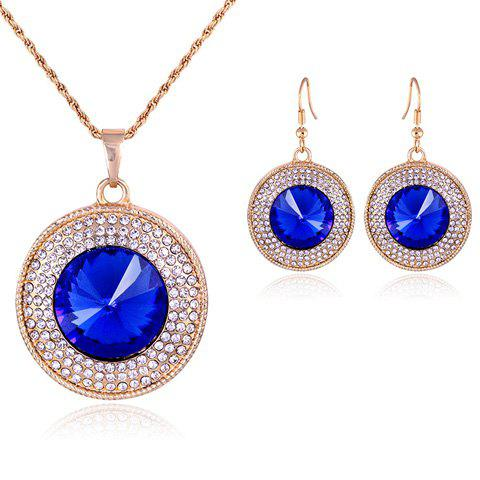 Buy Suit Graceful Faux Crystal Round Pendant Necklace Earrings Women