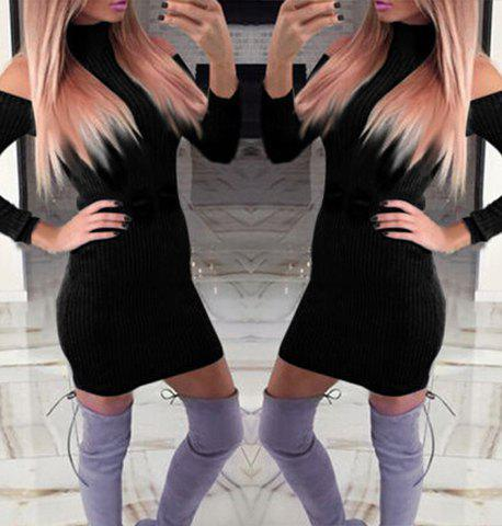 e456015726 2019 Trendy Turtleneck Long Sleeve Hollow Out Sweater Dress For Women