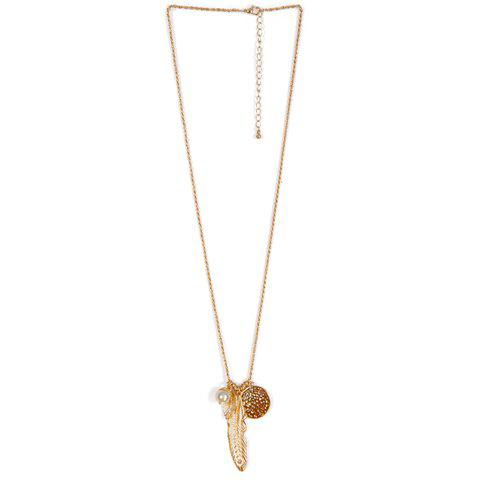 Cheap Faux Pearl Feather Leaf Sweater Chain