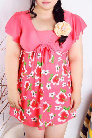 Discount Refreshing Square Collar Flower Print Short Sleeve Swimsuit For Women ROSE 4XL