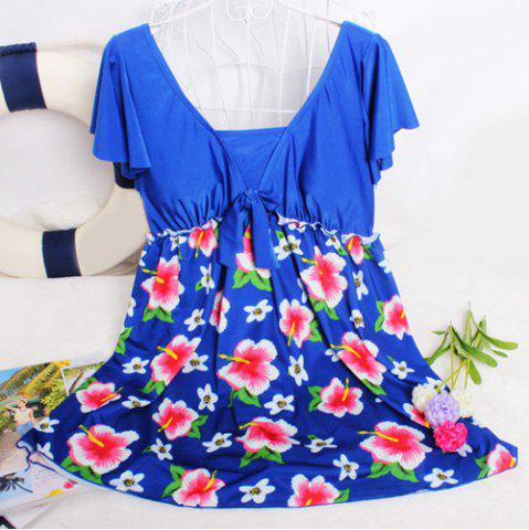 Chic Refreshing Square Collar Flower Print Short Sleeve Swimsuit For Women