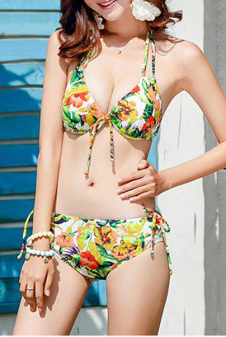 Outfit Attractive Hollow Out Halter Floral Printed Three-Piece Bikini For Women - L GREEN Mobile