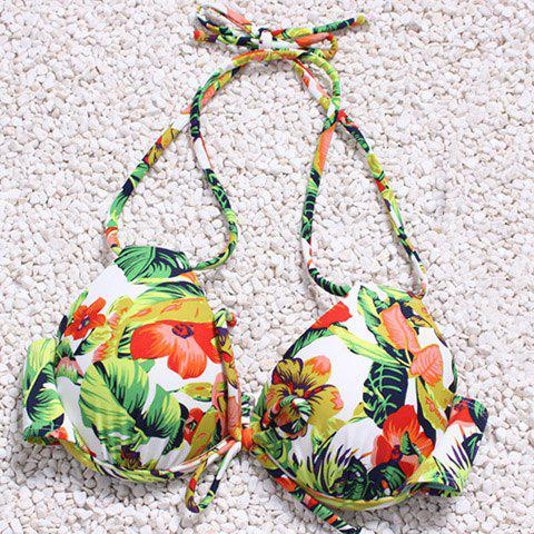 Affordable Attractive Hollow Out Halter Floral Printed Three-Piece Bikini For Women - L GREEN Mobile