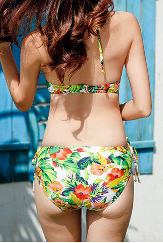 Latest Attractive Hollow Out Halter Floral Printed Three-Piece Bikini For Women - L GREEN Mobile
