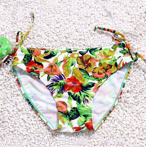 New Attractive Hollow Out Halter Floral Printed Three-Piece Bikini For Women - L GREEN Mobile