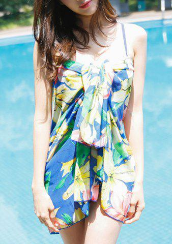 Shop Charming Colorful Printed Bra and Briefs and Cover-Up Three-Piece Swimwear For Women - M BLUE Mobile