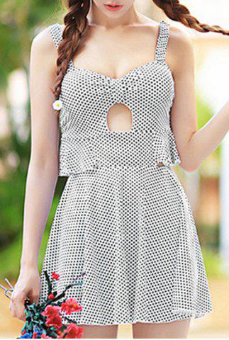 Online Cute Polka Dot Printed Hollow Out Mini Dress and Boxers Twinset Swimwear For Women