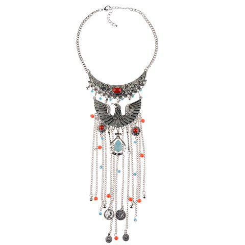 Latest Vintage Phoenix Shape Hollow Out Coin Beads Pendant Necklace For Women SILVER