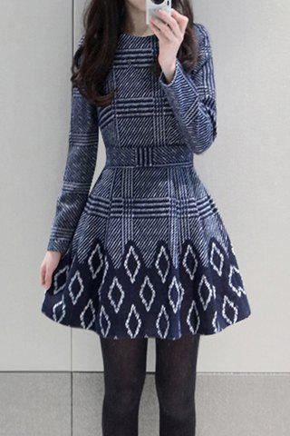 Buy Stylish Round Neck Long Sleeve Printed Women's Flare Dress