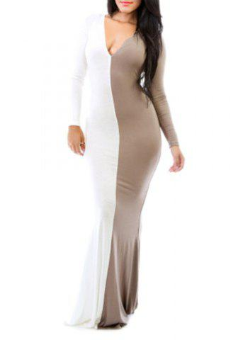 Image of Plunging Neck Color Block Long Sleeve Bodycon Maxi Dress