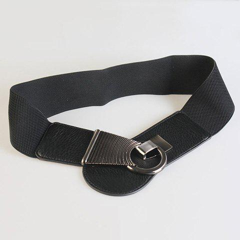 Unique Chic Alloy Hasp Solid Color Elastic Waistband For Women - BLACK  Mobile