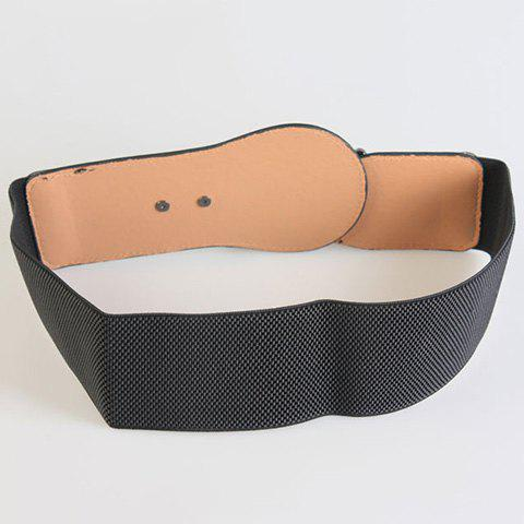 Fashion Chic Alloy Hasp Solid Color Elastic Waistband For Women - BLACK  Mobile