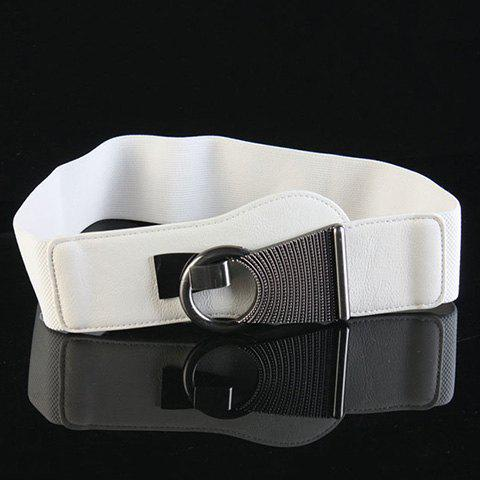 Unique Chic Alloy Hasp Solid Color Elastic Waistband For Women - WHITE  Mobile