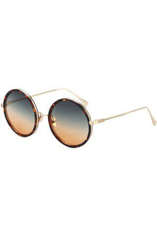 Fancy Chic Retro Leopard Metal Round Sunglasses For Women
