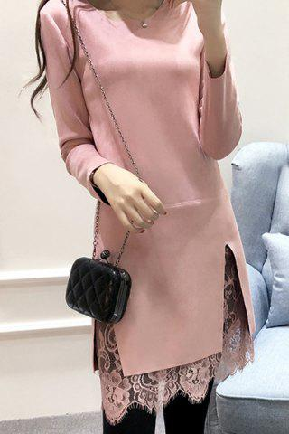 Round Neck Long Sleeve Solid Color Lace Spliced Slit Dress 165300710