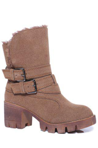Cheap Trendy Double Buckles and Stitching Design Women's Short Boots