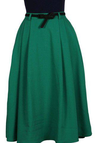 Trendy Vintage Green High Waist Pleated A-Line Midi Dress For Women