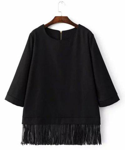 Chic Round Neck 3/4 Sleeve Loose-Fitting Fringed Women's Blouse