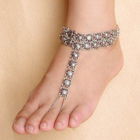 Store Vintage Carve Pattern Hollow Out Indian Anklet - SILVER  Mobile