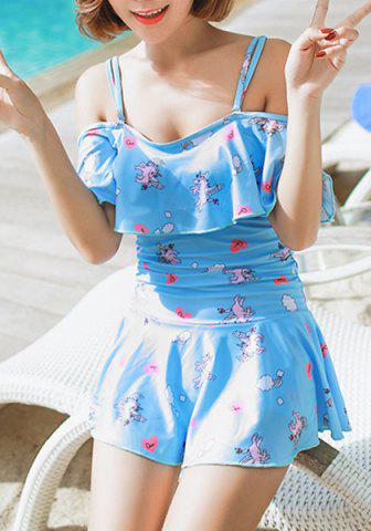 Chic Cute Spaghetti Strap Character Print Flounced One-Piece Swimsuit For Women