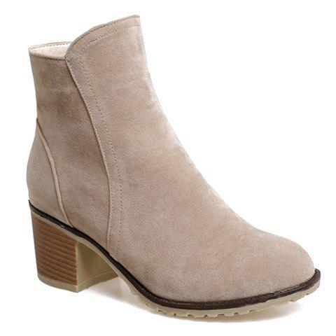 Affordable Fashionable Suede and Chunky Heeled Design Women's Short Boots
