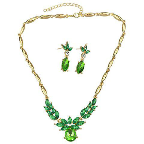 New A Suit of Delicate Faux Crystal Oval Shape Necklace and Earrings For Women