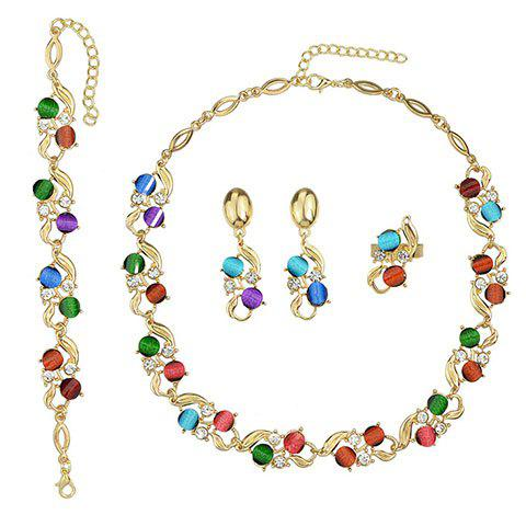 Store A Suit of Faux Crystal Alloy Necklace Bracelet and Earrings - COLORMIX  Mobile