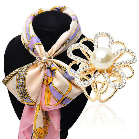 Buy Floral Hollow Out Faux Pearl Rhinestoned Scarf Buckle Brooch - GOLDEN  Mobile