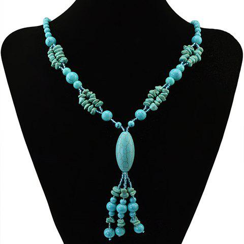 Discount Bohemian Style Faux Turquoise Oval Beads Necklace - GREEN  Mobile